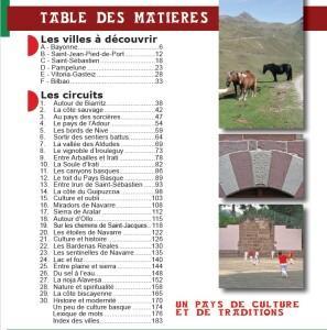 """Table des matières du """"Guide Balades Basques"""""""