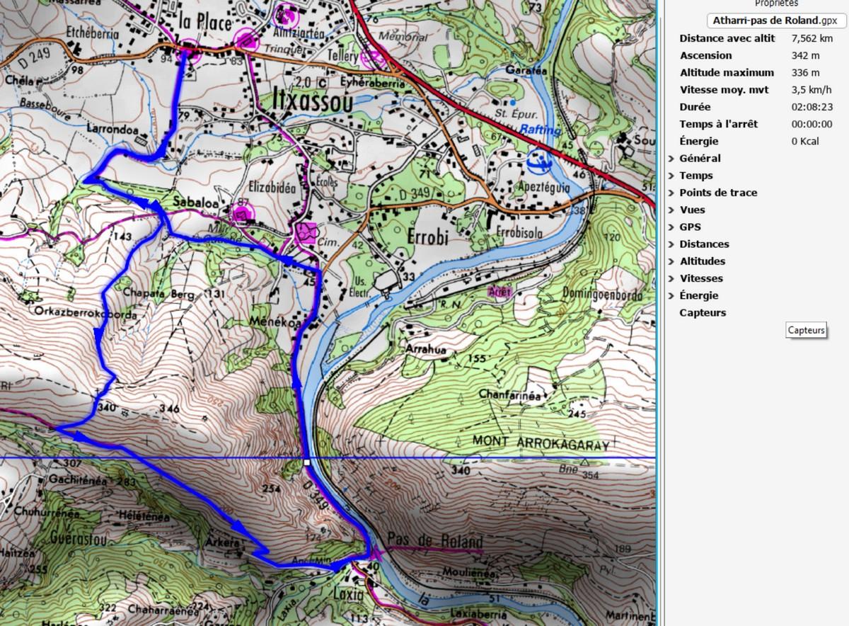 Carte randonnée Atharri-Pas de Roland